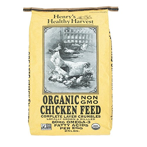 - Henry's Healthy Harvest - Organic Chicken Feed - Organic, Non-GMO Chicken Feed Layer Crumbles With Omega 3s for Mature Laying Hens - 25 Pound Bag