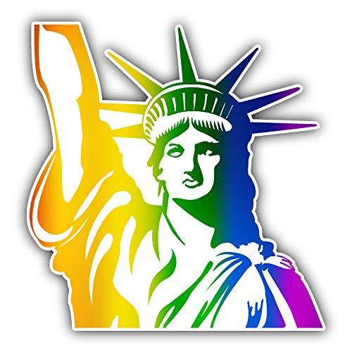 novland Gay Rainbow Flag Statue of Liberty USA Car Bumper Sticker Decal 5 x 5