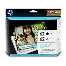 HP 62 Black & Tri-color Original Ink Cartridges with Photo Paper, 2 pack (K3W67AN)