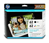 HP 62 Black & Tri-color Original Ink Cartridges with Photo Paper & Envelopes, 2 Cartridges (C2P04AN, C2P06AN) for HP ENVY 5540 5541 5542 5543 5544 5545 5547 5548 5549 5640 5642 5643 5644 5660 5661 5663 5664 5665 7640 7643 7644 7645 HP Officejet 200 250 25