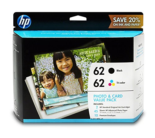 HP 62 Black & Tri-color Original Ink Cartridges with Photo Paper & Envelopes, 2 Cartridges (C2P04AN, C2P06AN)
