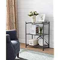 Kings Brand Gray Metal Home & Office Folding Storage Bookcase Organizer Display Unit, 3 Tier