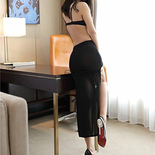 Las mujeres Elsayx Falda ver a través de la Lencería ropa de dormir Black