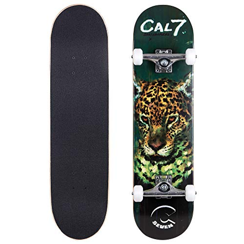 "Cal 7 Complete Skateboard, Popsicle Style with 5.25 Inch Trucks & 100A Wheels for Kids & Adults (8"" Fierce)"