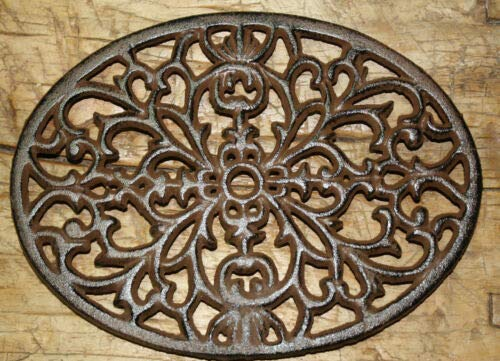 (JumpingLight Cast Iron Oval Antique Style Victorian Scroll Trivet Plaque Pot Pan Holder Cast Iron Decor for Vintage Industrial Home Accessory Decorative Gift)