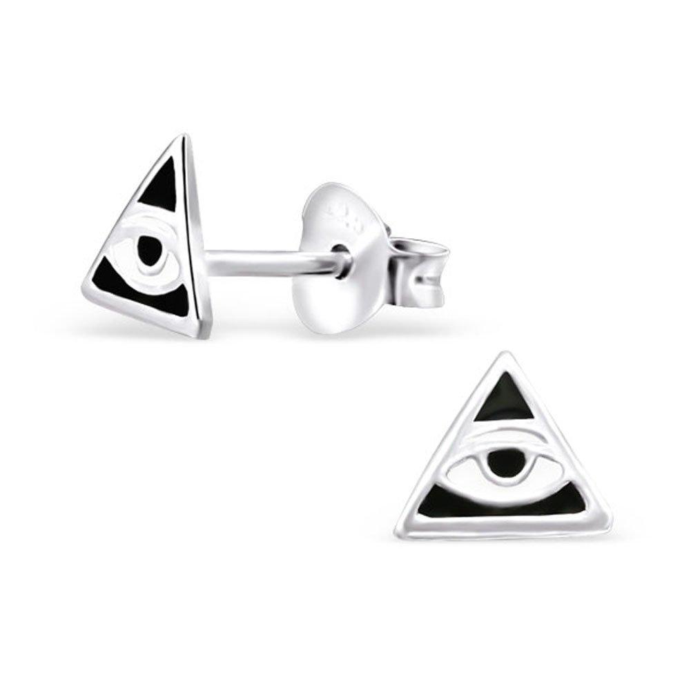 Tiny Black White Triangle Eye Earrings Post Studs Illuminati Geometric 925 Sterling Silver (E21910) by PTN Silver Jewelry (Image #1)