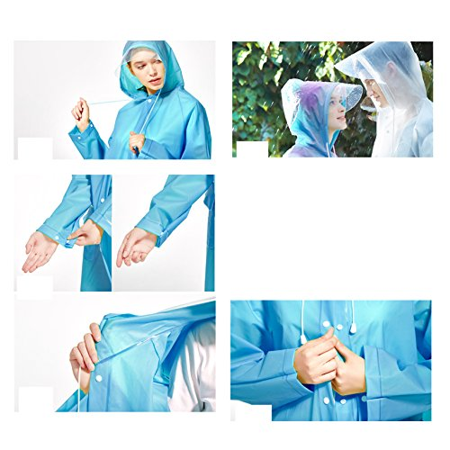 Unisex Rain Poncho Hooded Raincoat Reusable Rainwear With a Carry Bag