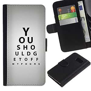 iKiki Tech / Cartera Funda Carcasa - Optometrist Eye Test Quote Gray Black - Samsung Galaxy S6 SM-G920