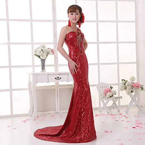 Schleifen Pailletten lang Zug Kleid Shoulder One Emily Rot Party Beauty EC7qwpxafE