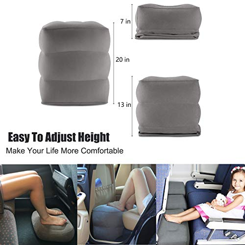 Tekcast Travel Foot Rest Pillow Height-Adjustable Inflatable Travel Leg Rest Pillow On Airplanes, Cars, Buses, Trains, Office. Great Airplane Travel Bed for Kids to Sleep on Long Flights (Grey) by Tekcast (Image #1)