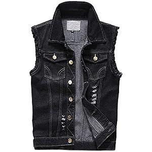 Men's Denim Lapel Vest Casual Sleeveless Jean Jackets