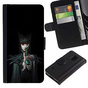 Billetera de Cuero Caso Titular de la tarjeta Carcasa Funda para Samsung Galaxy S5 V SM-G900 / Woman Black Dark Fairytale / STRONG