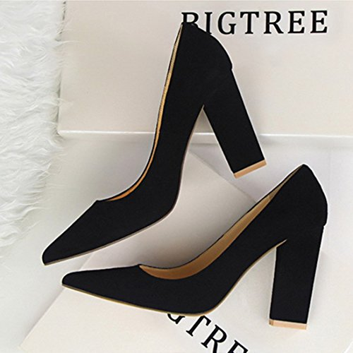 Bloque tacón de de Suede múltiples clásico alto colores Bloque On tela Mujeres Slip Toe zapatos Chunky Party Wedding Pumps Dress YIBLBOX negro con 18qxO6wq