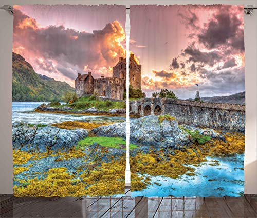 - Ambesonne Scenery Decor Curtains, Dreamy Ancient Times Middle Age Inspired Princess Castle Near Lake Stones Moss, Living Room Bedroom Window Drapes 2 Panel Set, 108 W X 108 L Inches, Multi