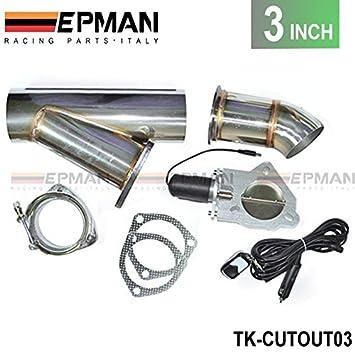 3 inch Escape Cutout eléctrico Dump y-pipe CATBACK Cat Back Turbo de acero tk-cutout03: Amazon.es: Coche y moto