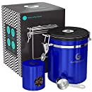 Coffee Gator Stainless Steel Container - Canister with co2 Valve, Scoop, and Travel Jar (Blue, Medium)