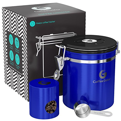 Blue Coffee Canister - Coffee Gator Stainless Steel Container - Canister with co2 Valve, Scoop, and Travel Jar (Blue, Medium)