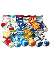 12Pairs Assorted Cartoon Designs Baby Toddler Child Cotton Short Socks Non-Slip Floor Sock with Grips(1-2 Years Old) Walker Boys Girls Non Skid Stretch Knit Crew Socks Footsocks Sneakers