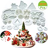 (Set of 22) Christmas Cookie Cutter Set,Fondant Plunger Cutters and Molds for Cupcake Cake Topper Decorating Tools Holiday Baking Snowflake Christmas Tree/holly Leaf/sled/Snowman/Jingling Bell/Deer
