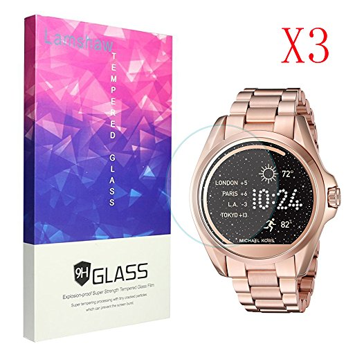 Michael Kors Screen Protector, Lamshaw 9H Tempered Glass Screen Protector for Michael Kors MKT5001 Smartwatch (3 pack)