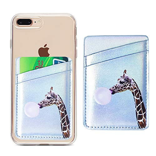 Cell Phone Card Holder Sticker on Back of Phone Iridescent Silver PU Leather Wallet Pocket Pouch Sleeves Cover Compatible with iPhone XR XS Max 8 7 6 Plus,Samsung Galaxy (Bubblegum Giraffe) (Case On The Back)
