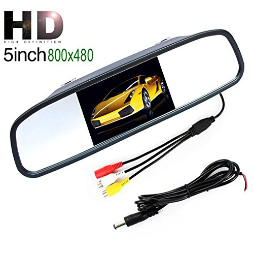 Coche Espejo Monitor –  5 pulgadas HD 800 * 480 resolució n Digital TFT LCD Espejo monitor con 2 entrada de ví deo de visió n trasera de aparcamiento para coche conexió n trasera/parte d