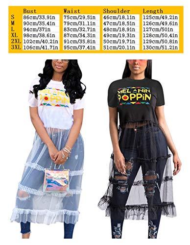 Mesh Top Ruffles Dress 1 Letter T Patchwork Dress Midi Print Bluewolfsea black Women Shirt Pleated BqAw55