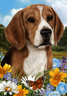 Beagle Garden Flag - Beagle - Best of Breed Summer Flowers Garden Flags