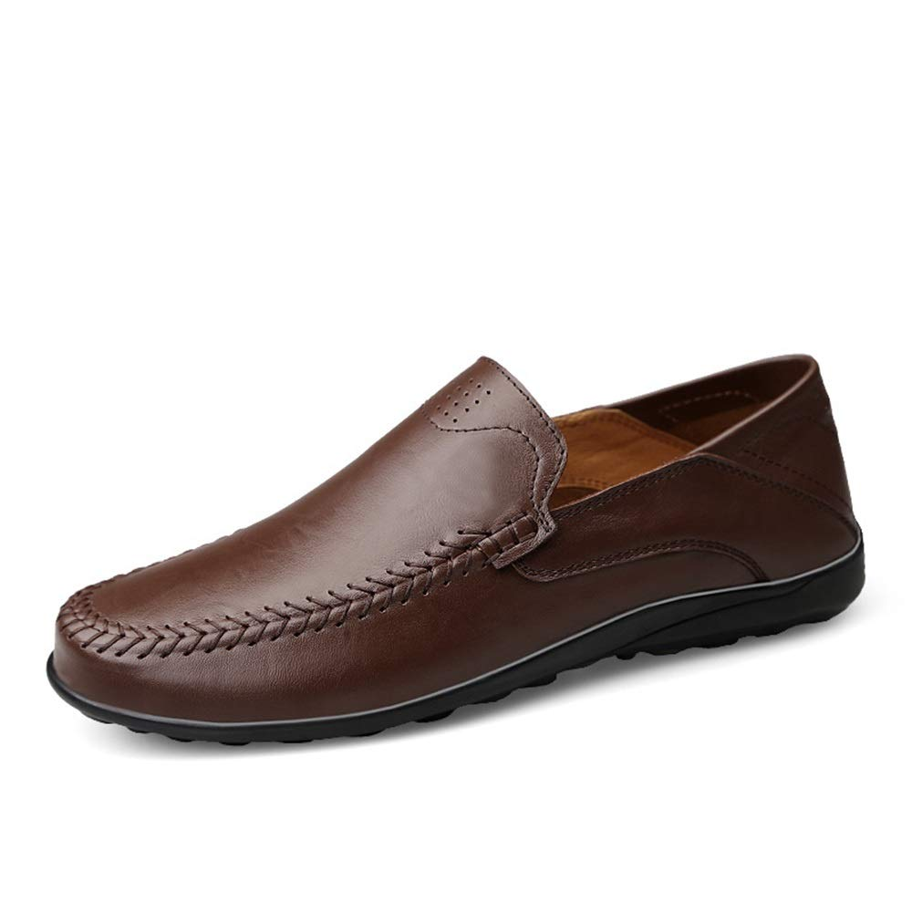 Darkbrown Men's Driving Loafer Casual Refreshing OX Leather shoes with Soft Soles Non-Slip Boat Moccasins Cricket shoes
