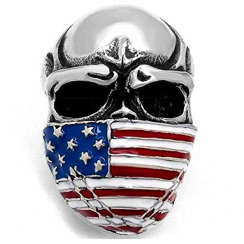 - MENDINO Mens Stainless Steel Band Heavy Ring American Flag Mask Skull Biker