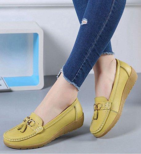 41 Mocassins Souple Apple Plates Loafers Green Cuir de Femme Antidérapante Chaussures Casual Confort en Printemps 35 JRenok Boucle Chaussures TaH0q7I