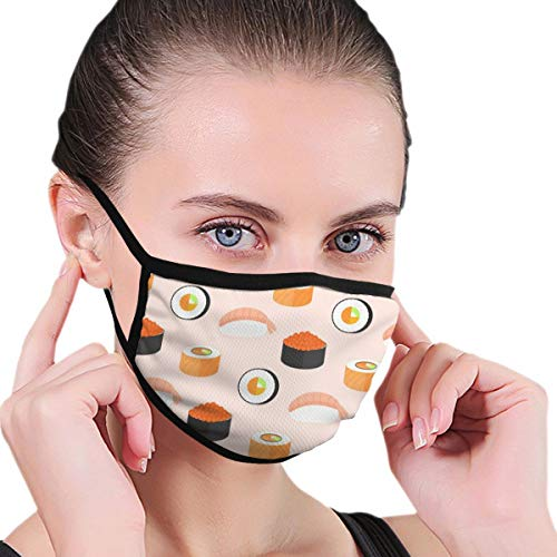 TRAVOTG Sushi Set Rolls Salmon Nigiri Shrimp Mouth Mask,Unisex Mask Personality Print Anti-Pollen Mask Anti-dust and Anti-infective Polyester Face Mask Face-Fitting for Men and Women