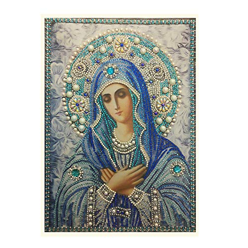 DENER❤️ 5D Embroidery Paintings Madonna Rhinestone Pasted DIY Diamond Painting Cross Stitch Decoration (30X40cm) ()