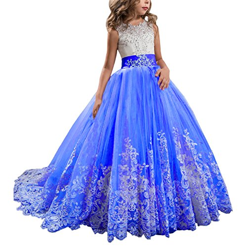 KSDN Royal Wedding Flower Girls Dress Lace Tulle Communion Pageant Gown with Bow (US 8, Royal)