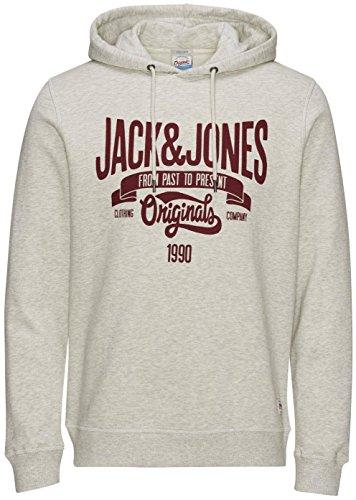 JACK JONES - Felpa uomo con cappuccio oskar sweat xl grigio chiaro