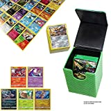 100 Pokemon Cards with 5 Holo Rare Cards and 1 Green Dragonhide Deck Box