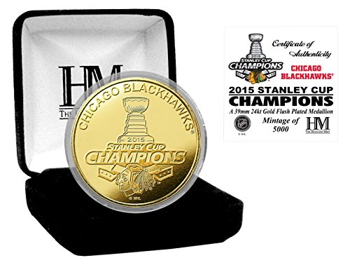 """NHL Chicago Blackhawks 2015 Stanley Cup Champions Mint Coin, 8"""" x 4' x 1"""", Gold"""