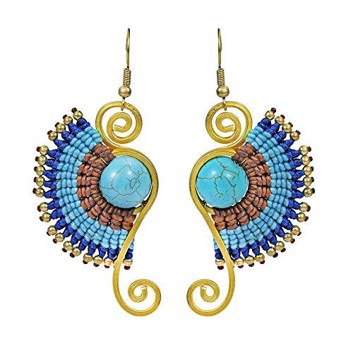 Simulated Turquoise Multi Blue Macrame Swirl Brass Artsy Dangle Earrings - Blue Swirl Earrings