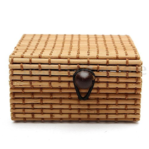 FIN86 Fashion Home Kitchen Storage Tools, Ring Necklace Earrings Bamboo Wooden Case Jewelry Storage Boxes Holder Posh (C)