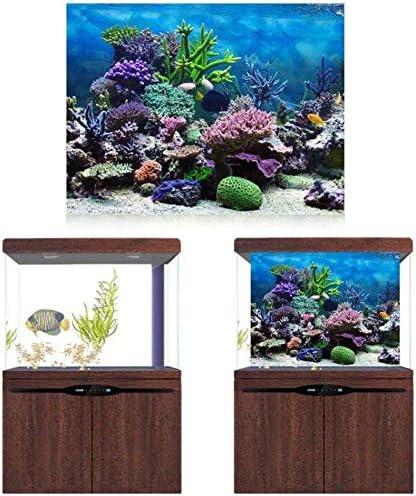 Acquario Sfondo Poster Fish Tank Sfondo PVC adesivo Underwater Coral Reef Decor carta adesiva Stickers decalcomanie 61*30cm