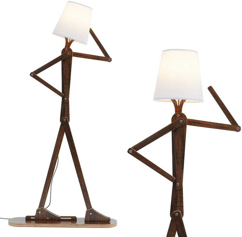 HROOME Cool Tall Decorative Floor Lamp Standing Lights Adjustable Corner  Reading for Kids Bedroom Office Wooden Swing Arm Lamps - LED Bulb Included