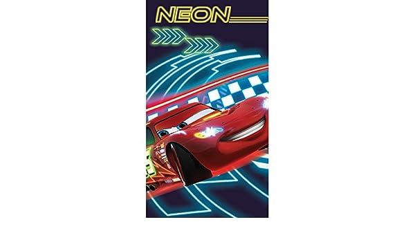 Disney- Toalla de playa/piscina con coche fluorescente para niños (70cm x 130cm/Rojo/ Azul marino): Amazon.es: Hogar