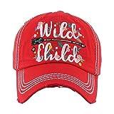 Wild Child Red Washed Vintage Baseball Adjustable Cap.