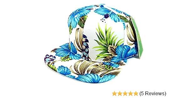4e0c43ad05a2e6 Amazon.com: All Over Hawaiian Print Snapback Hat Cap Flat Bill Floral  White: Sports & Outdoors