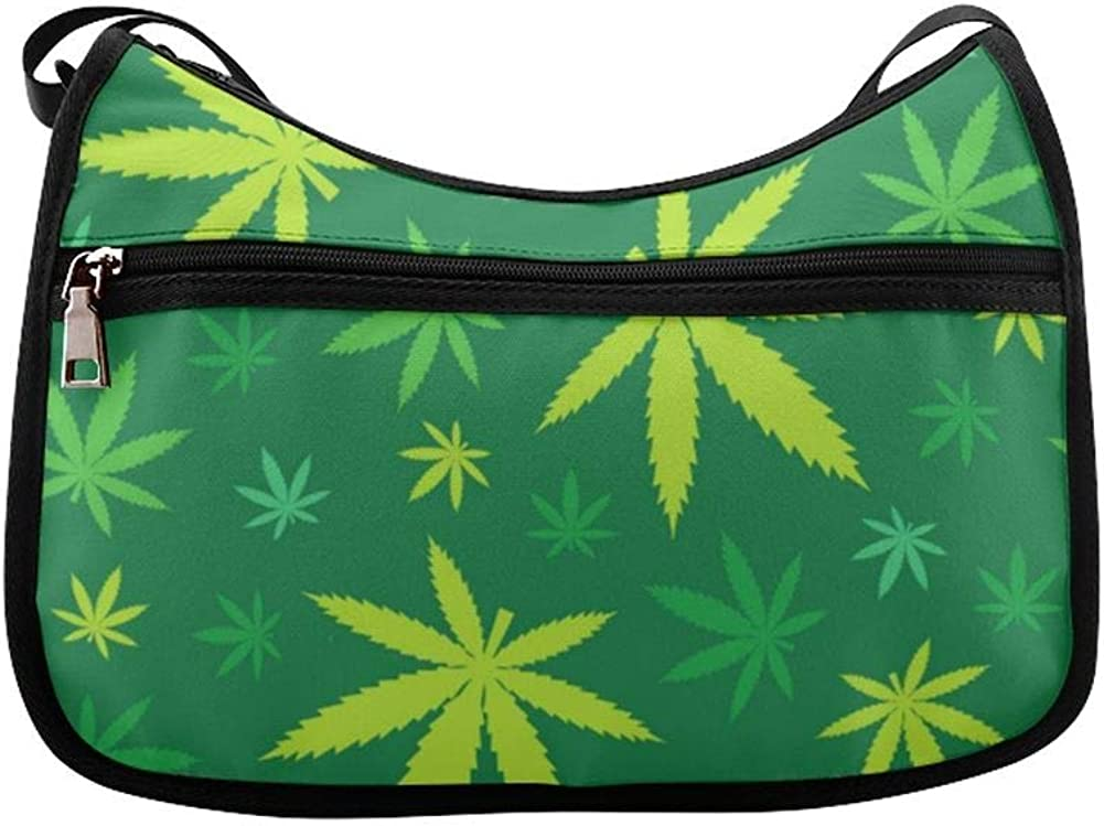 Green Marijuana Leaves Messenger Bag Crossbody Bag Large Durable Shoulder School Or Business Bag Oxford Fabric For Mens Womens