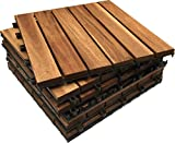 HARDWOOD Decking Tiles - Click-Deck - Patio, Balcony, Roof Terrace, Hot Tub Deck Tiles Flooring Decking (36 x Hardwood Tiles)