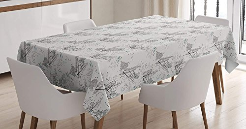 Flowers Squirrel Proof (Wildlife Tablecloth Linen Decor Table Cover for Kitchen Dinning Room Rectangle Oblong Tablecloths 53 W X 53 L Inch, Squirrel Chipmunk Animals on Tree Branches Flowers Little Triangles Art Print)