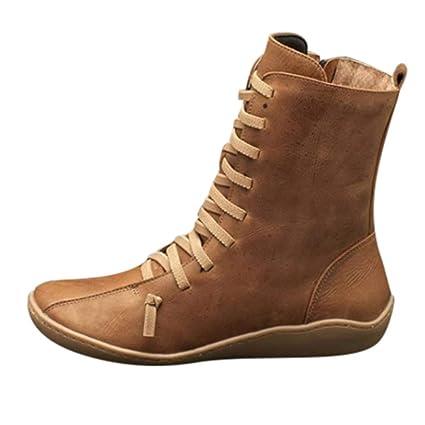 Sunnyuk Stiefel Damen Kurzschaft flach Schuhe braun Stiefel