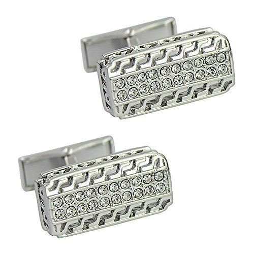 silver engraved openwork pattern cufflink Strip whale back cufflink Europe rhinestone cufflinks (Cufflinks Silver Pattern)