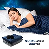 """Weighted Blanket Sleep Set - Premium Cover, 48x72"""" 15Lb Sleep Therapy Cooling Blanket, Sleep Mask - Hypoallergenic, Breathable - Adults, Kids, Anxiety, Insomnia, Stress, Autism, ADHD (Blue, Minky)"""
